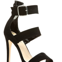 Black Faux Nubuck Strappy Single Sole Heels