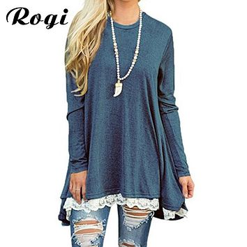 Rogi Bohemian  Womens Tops And Blouses Long Sleeve Splice Shirt Women Tunic Top Casual Loose Patchwork Lace Blouse Shirt Pullover XXL
