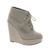 New Look | New Look Dancer Lace Up Collar Wedge Ankle Boots at ASOS