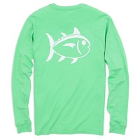 Long Sleeve Outlined Skipjack Tee in Starboard Green by Southern Tide