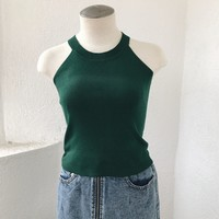 MANDY ZIPPER BACK KNIT- GREEN