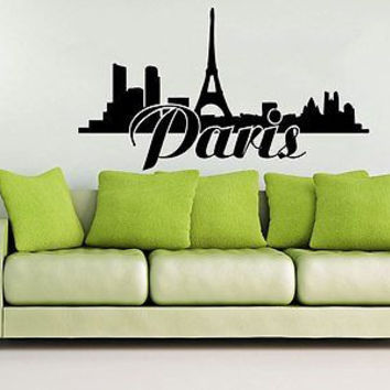 Wall Decal Sign Paris Eiffel Tower City France Country Europe Vinyl Sticker C250