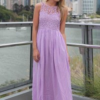 Purple Sleeveless Maxi Dress with Crochet Daisy Bodice