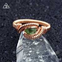 Size 5.5 Wire Wrapped Ring Demantoid Garnet Gem Rose Gold fill