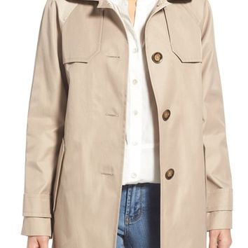 London Fog Hooded Single Breasted A-Line Coat | Nordstrom