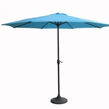 Outdoor Patio Market Umbrella 8 Ft. with Hand Crank and Tilt Turquoise Blue