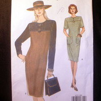 Women's Tapered Dress Misses' Size 8, 10, 12 Very Easy Vogue 8713 Sewing Pattern Uncut