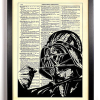 Star Wars Darth Vader Repurposed Book Upcycled Dictionary Art Vintage Book Print Recycled Vintage Dictionary Page Buy 2 Get 1 FREE