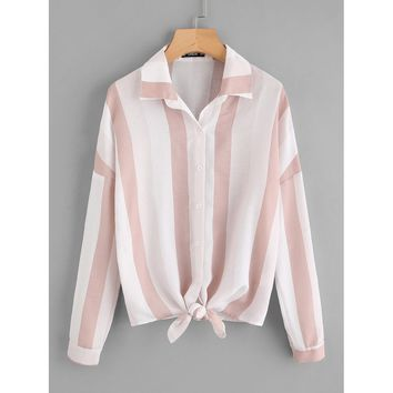 Roll Tab Sleeve Knot Front Mixed Striped Blouse