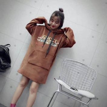 LMFOP7 Gucci Women Fashion Long Sleeves Hoodie Sweater Dress