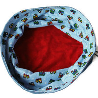 Boys Denim & Trains Toy Bag Extra Large Bucket Bag Blue Bright Red Yellow Green Flannel Homeschool Travel Laundry Tote--US Shipping Included