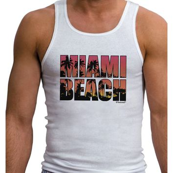 Miami Beach - Sunset Palm Trees Mens Ribbed Tank Top by TooLoud