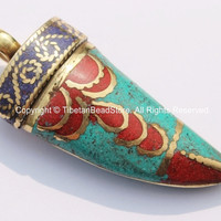 Tibetan Horn Tusk Amulet Pendant with Brass, Turquoise, Lapis & Copal Coral Inlays - Boho Tribal Ethnic Tibetan Horn Amulet - WM5042