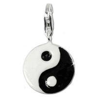 SilberDream Charm YingYang enamel 925 Sterling Silver Pendant Lobster Clasp FC4113