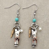 Dangling Six Shooter Bullet Earrings