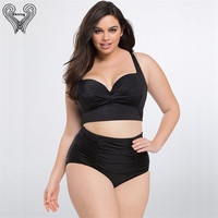 2017 Push Up Bikini Plus Size Swimwear Women High Waist Swimsuit Large Size Swimsuits High Waisted Bathing Suits Biquini Cropped