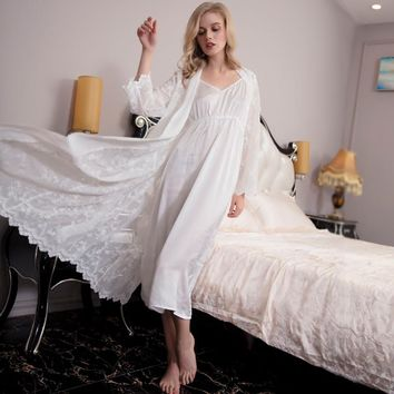Robe Women Lace Robe Elegant Robe set lady Embroidery Sleepwear two-piece for Long bathrobes suit Hot sale