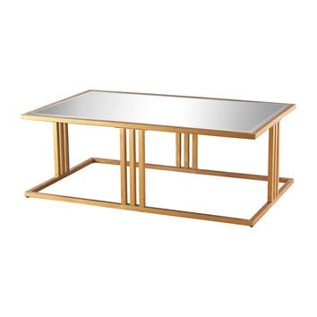 1114-198 Andy Coffee Table In Gold Leaf And Clear Mirror - Free Shipping!