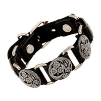 New Arrival Stylish Awesome Hot Sale Gift Shiny Great Deal Punk Rivet Leather Bangle Vintage Alloy Men Ring Bracelet [6526778243]