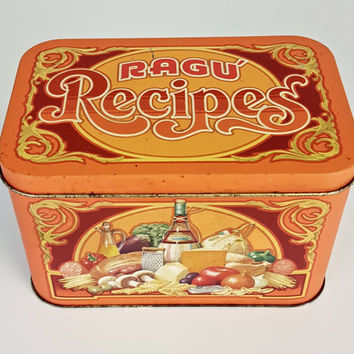 Vintage Ragu Recipe Tin, Retro Ragu Recipe Container, Retro Vintage Kitchen Canister Tea Coffee Sugar Storage Retro Kitchen Decor Orange Red