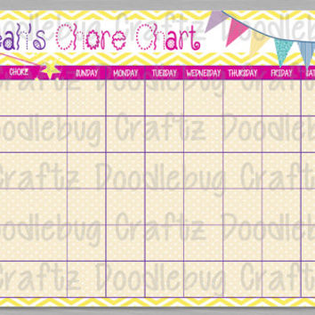 PERSONALIZED & PRINTABLE - Girl's Chore Reward Chart - Yellow, Pink, Purple - 1 PDF file 8.5x11 - 24 Hour Turn Around