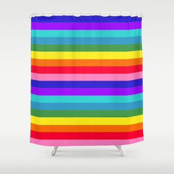 Stripes of Rainbow Colors Shower Curtain by Celeste Sheffey of Khoncepts