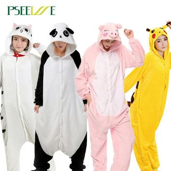 PSEEWE Winter Pajama sets Women Sleepwear unicorn Panda stitch Onesuits for adults Animal Pajamas Cartoon Cosplay Unisex Homewear