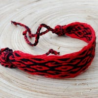 Woven red black braclet, cotton men bracelet, table weaving arm band, weave ethniic boho wrist band, colorful bracalet, hipster jewelry