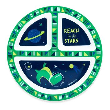 "Cheeky Plastic Divided Kids Plate 8.3"" Space Dinosaur - Green"