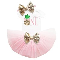 My First Birthday 3PC Set White Bodysuit Pineapple Theme Tutu With Matching Headband
