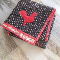 Ready to ship chicken quilt , Adult lap quilt, Homemade quilt for sale, Farm quilt, Farm blanket, Rooster blanket decor, Picnic blanket