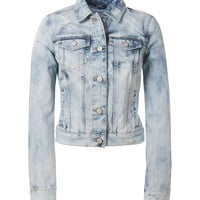 Cloud Wash Destroyed Denim Jacket