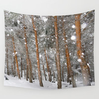 """""""Snowing in the deep forest"""" Wall Tapestry by Guido Montañés"""
