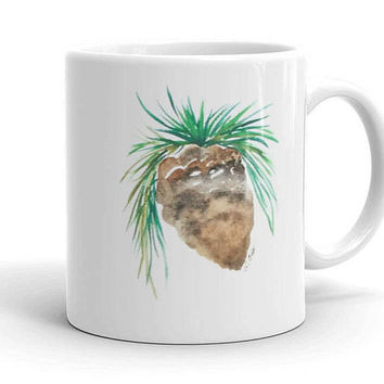 Fall coffee mug, watercolor coffee cup, Christmas gift, Original painting, gift under 20, Pinecone coffee cup, Coffee lover gift