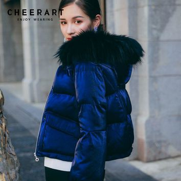 Cheerart Basic Jacket Coat Women Thick Down Parka Fur Hood Blue Velour Quilted Glitter Female Winter Jacket Short Anorak Femme