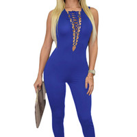 Royal Blue Sexy Lace-up Bust Deep V Neck Jumpsuit