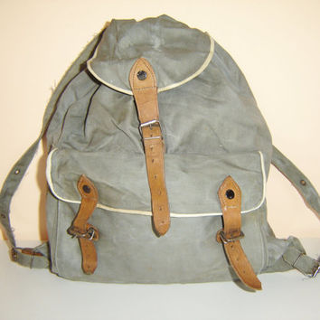 Vintage Small Size Green Canvas Military Backpack Leather Straps