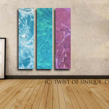 Modern abstract Painting / CUSTOM  Art / 3 panel  (48 Inches x 12 Inches) / Industrial Watercolor Wall Art / Blue, green, Mauve, purple