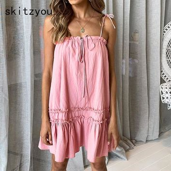 skitzyou Summer Dress 2019 Women Casual Beach Short White Mini Lace Dress Sexy Party Dresses Loose Pink Sleeveess Dress Vestidos