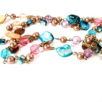 Multi Color Beaded Necklace Teal Pink Purple by colorsoulartistry