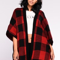Megi Poncho Cardigan - Red