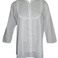 Mogul Interior Womens Shirt Blouse Button Down White Hand Embroidered Festive Cover Up Tunic Top