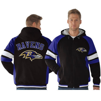 Nike Baltimore Ravens Retro Full Zip Hoodie - Black