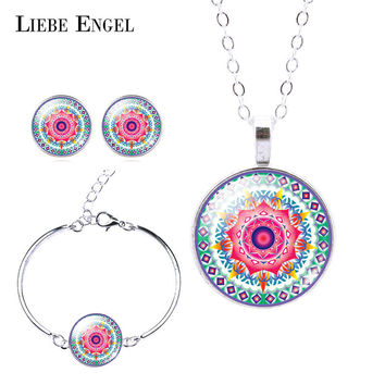 LIEBE ENGEL Classic Silver Color Jewelry Set OM Symbol Buddhism Zen Picture Necklace Stud Earring Bracelet Bangle Sets Jewelry