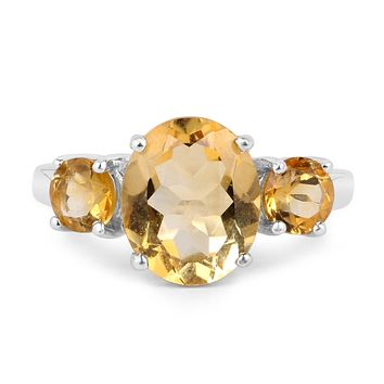 A Natural 4TCW Yellow Citrine Three Stone Ring Size 9
