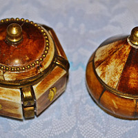 Brass And Bone Trinket Boxes, Pill Box