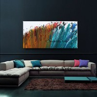 """On Sale - RED and BLUE Modern Painting, 48"""" Modern Wall Art, Large Home Decor for office or living room - Nandita Albright"""