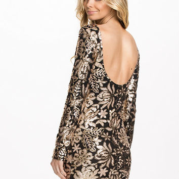 Gold Floral Detailed Sequin Dress, Club L