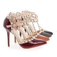 Adora64 By Wild Diva, Pointy Toe D'orsay T-Strap Stiletto Heel Sandals