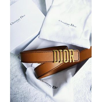 Dior Tide brand men's and women's simple and simple smooth buckle belt Coffee